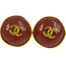 "Authentic CHANEL Vintage CC Logos Button Earrings 0.9 "" Clip-On France V01974"