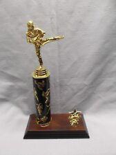 female Karate trophy award theme column black wide wood base star trim