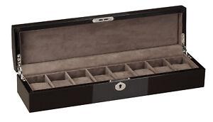 Diplomat 8 Watch Box Case Black and Carbon Fiber Finish Gray Interior 34-650