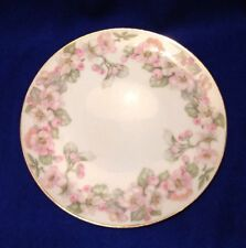 Vintage J & C Bavaria Plate White w/ Pink Flowers, Green Leaves Gold Trim 8.5""