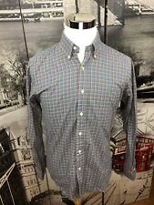 Ralph Lauren Mens Med. Custom Fit Button Front Plaid Shirt Blue Plaid Green Pony