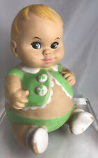 Uneeda Plumpees 1967 squeak doll rubber toy doll Used Green Outfit Creepy