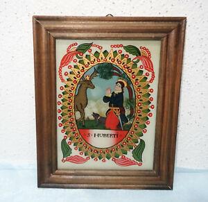 "Hinterglasbild - ""S. Huberti"" - mundgebl. Glas - Handmalerei - Blattgold"