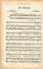 Les Oiseaux Musique de Brebant Poésie Louis de Courmont GRAVURE OLD PRINT 1901
