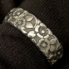 ANTIQUE ESTATE STERLING SILVER FORGET ME NOT FLOWER ETERNITY BAND RING SIZE 8.5