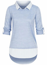 B21029003 Damen 77 Lifestyle Shirt 2in Turn-Up Longsleeve Bluseneinsatz blau