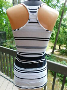 LULULEMON sport yoga RACER BACK athletic TOP stripe black tan white s/M YOGA