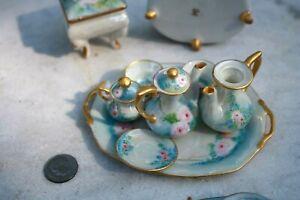 Miniature 15 Piece set Tea Set Japan high quality, Opalescent Antique