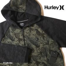 Hurley Phantom Paradise Men's Fleece Full Zip Hoodie Jacket Black Green size XL