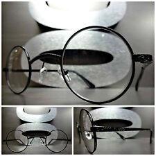 CLASSIC VINTAGE PROFESSOR Style Clear Lens EYE GLASSES Unique Round Black Frame