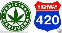 """2 Marijuana Cannabis Weed Pot 420 Leaf Sticker Vinyl Decals 4"""""""