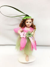 """New PINK FAIRY Fully Jointed 4"""" Hanging or Standing Miniature PORCELAIN DOLL"""