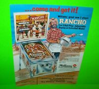 Rancho Pinball FLYER Original 1977 Arcade Machine Promo Artwork Western Theme