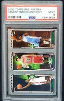 2003 Topps Rookie Card LEBRON JAMES & CARMELO ANTHONY PSA 9 MINT Pop 34