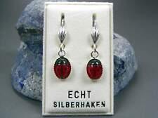 NEU 925 Silber OHRHÄNGER mit MARIENKÄFER in rot/schwarz OHRRINGE