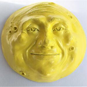 Adorable Moon Face Sculpture, Yellow Wall Art, Indoor Outdoor Art by Claybraven