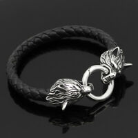 Men's Norse Viking Stainless Steel Wolf Braided Leather Cord Bracelet Amulet