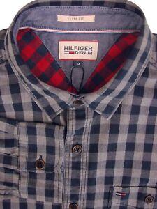 HILFIGER DENIM Shirt Mens 16.5 M Dark Blue & Grey Check SLIM FIT NEW BNWT