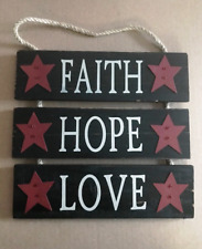 FAITH HOPE LOVE country stars religious inspirational rustic wooden sign rope