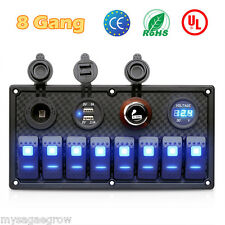 8 Gang LED Rocker Switch Panel 12V 24V Car Boat Marine Voltmeter 2 USB Charger