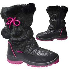 NEW GIRLS THERMAL FUR LINED WARM WINTER ZIP POM WELLINGTON SNOW BOOTS SHOES SIZE