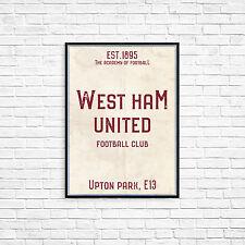 Upton Park West Ham FC White A3 Picture Art Poster Retro Vintage Style Print