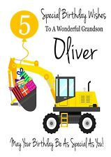 DIGGER Personalised Birthday Card Son Grandson Nephew Brother Any 1 2 3 4 5 6