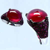 NATURAL 12 X 14 mm. CABOCHON WITH BURMA ROUND RED RUBY RING 925 STERLING SILVER