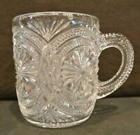 Stunning Small Vintage EAPG Clear Decorated Glass Cup Mug w. Star Designs