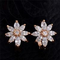 Striking Crystal CZ Flower 18K Gold Plated Hoop Earrings For Women Lady
