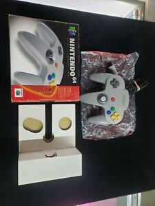 OEM Nintendo 64 Grey Gray Wired Controller w/ Box & Tray N64