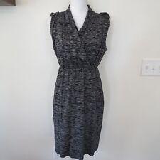 FRAGILE Antwerp Medium Stretch 100% Cotton Knit Jersey Black Marled Print Dress