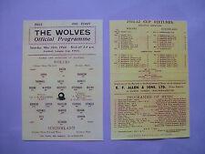 1942 F.A. League cup final programme 2nd leg Wolves v Sunderland Mint condition.