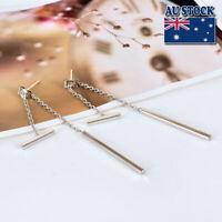 Elegant 925 Sterling Silver Solid Plain Bar Stick Drop Dangle Stud Earrings