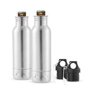2Packs 12oz Bottle Insulator Cold Keeper Stainless Steel Soda Beer Cooler Opener