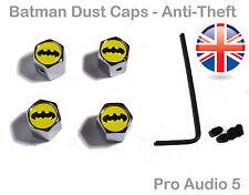 Bat Man Chrome Dust Caps Locking Anti-Theft Valve Caps -Universal Car Van - UK