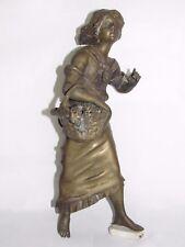 08D29 ANCIENNE STATUE EN BRONZE FEMME FILLE AU PANIER ART NOUVEAU POUR HORLOGE