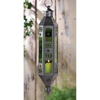 """GREEN 13"""" tall Moroccan hanging Candle holder Lantern Lamp outdoor terrace patio"""
