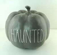 "Rae Dunn Halloween Large ""HAUNTED"" Solid Gray Pumpkin Decor Farmhouse Free Ship"