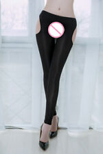 Sexy Women Slimming Pencil Pants Nylon Open Crotch Leggings Hollow Out