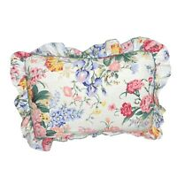 Vintage CANNON Pillowcase Standard Size Pink Blue Yellow Floral w Ruffles