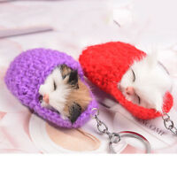 Cute Pompom Sleeping Mouse Keychain Key Rings Woman Bag Car Pendant Keyring LD