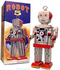 """Robot 5"" Tin Toy Windup Limited Edition MIB - Grey version"