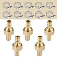 "5X Brass 5/8"" Garden Hose Mender End Repair Male Female Connector With Clamps ~"