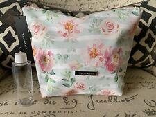 TAHARI Floral Makeup Cosmetic Bag Large Roses Pink Teal Zipper NWT $29 W/Bottle