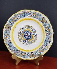 "Italian Dinner Plate Deruta Italy Dip a mano dinnerware 9.75"" wide hand painted"