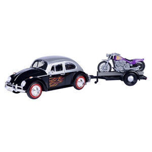 1:24 Volkswagen (VW) 1966 Beetle With Motor Bike On Trailer  MOTOR MAX #79675