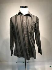 Monte Carlo Mens Button Front Shirt Large 16-16.5 Gray Black Striped Long Sleeve