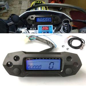 12V Motorcycle Scooter LCD Digital Speedometer Odemeter Tachometer w/ Sensor