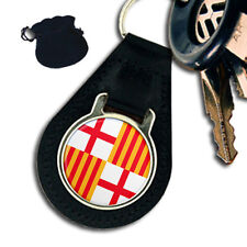 CITY OF BARCELONA FLAG COAT OF ARMS SPAIN  LEATHER KEYRING / KEYFOB GIFT